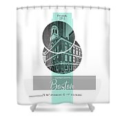 Poster Art Boston Faneuil Hall - Turquoise Shower Curtain