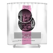 Poster Art Boston Waterfront - Pink Shower Curtain