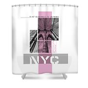 Poster Art Nyc Brooklyn Bridge Details - Pink Shower Curtain