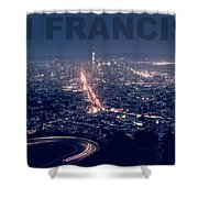 Poster Of Downtown San Francisco With Harbor On The Right Shower Curtain