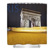 Poster Of The Arch De Triumph With The Eiffel Tower In The Picture Shower Curtain