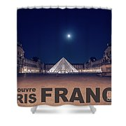 Poster Of  The Louvre Museum At Night With Moon Above The Pyrami Shower Curtain