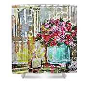 Potted Roses With Candle Shower Curtain