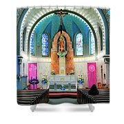 Praying At The Immaculate Heart Of Mary Church - San Antonio - Painted Church Shower Curtain by Jason Politte