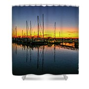 Pre-dawn Marina Colors Shower Curtain by Tom Claud