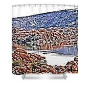 Prescott Arizona Watson Lake Rocks, Hills Water Sky Clouds 3122019 4867 Shower Curtain