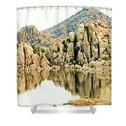 Prescott Arizona Watson Lake Water Mountains Lake Rocks Sky Reflections 4831 Shower Curtain