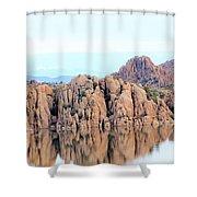 Prescott Arizona Watson Lake Water Mountains Lake Rocks Sky Reflections 4835 Shower Curtain
