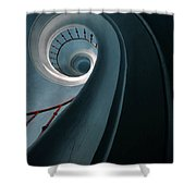 Pretty Blue Spiral Staircase Shower Curtain