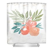 Pretty Coral Roses 2- Art By Linda Woods Shower Curtain