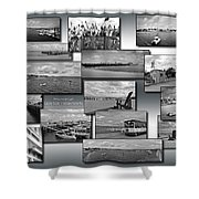 Provincetown Cape Cod Massachusetts Collage Bw 02 Shower Curtain