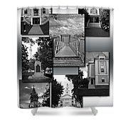 Provincetown Town Hall Cape Cod Massachusetts Collage Bw Vertical Shower Curtain