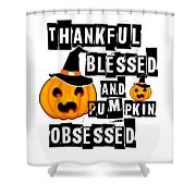 Pumpkin Obsessed Halloween Jackolantern Witch Hat Light Shower Curtain