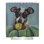 Puppy With Tennis Ball Shower Curtain