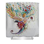 Pure Abstract #4. Trumpeting Angel Shower Curtain