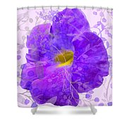 Purple Morning Glory With Pattern Shower Curtain