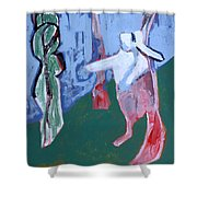 Rabbit By A Tree Shower Curtain
