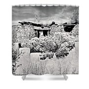 Rabbitbrush And Adobe Ruins In Sepia Shower Curtain