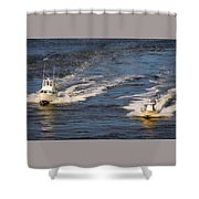 Racing To The Harbor Shower Curtain