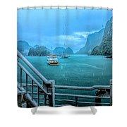 Rain Aboard Au Co Cruise Ha Long Bay  Shower Curtain