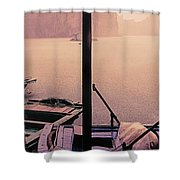 Rain Storm Ha Long Bay Boat People Homes Shower Curtain