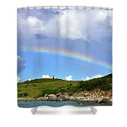 Rainbow Over Buck Island Lighthouse Shower Curtain