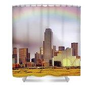 Rainbow Over Downtown Dallas - Dallas Skyline - Texas Shower Curtain by Jason Politte