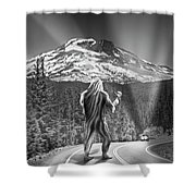 Rear View Of A Sasquatch Hitchhiking Shower Curtain