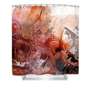 Red Abstract Art - The Vineyard - Sharon Cummings  Shower Curtain