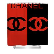 Red And Black Chanel Shower Curtain