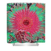 Red And Green Bloom Shower Curtain