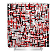 Red Black White Geometric Shower Curtain