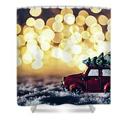 Red Car With Christmas Tree Driving Through Snow Shower Curtain