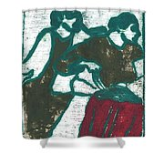 Red Detachment Of Women Painting Shower Curtain