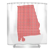 Red Dot Map Of Alabama Shower Curtain