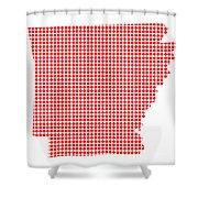 Red Dot Map Of Arkansas Shower Curtain