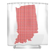 Red Dot Map Of Indiana Shower Curtain