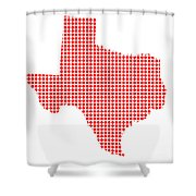 Red Dot Map Of Texas Shower Curtain