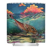 Red Fish Hunt Shower Curtain