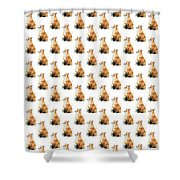 Red Fox Watercolor Pattern Shower Curtain