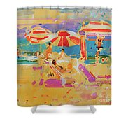 Red Parasols, Miami Shower Curtain