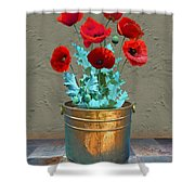 Red Patio Poppies Shower Curtain