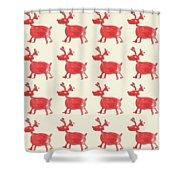 Red Reindeer Pattern Shower Curtain