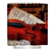 Red Rose And Violin With Sheet Music Shower Curtain