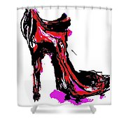 Red Shoe With High Heel Shower Curtain