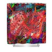 Red Swirls Shower Curtain