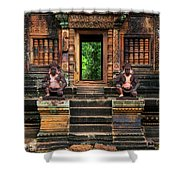Red Temple Shower Curtain by Jaroslaw Blaminsky
