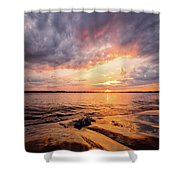 Reflect The Drama, Sunset At Fort Foster Park Shower Curtain by Jeff Sinon