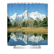 Reflection Of Mountains In Water, Grand Shower Curtain