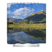 Reflections Of The Sawatch Range In The Autumn Shower Curtain